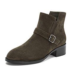 Teenmix/天美意2018冬商场同款卡其色牛剖层革皮带扣方跟女短靴AT081DD8