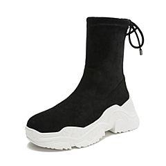 Teenmix/天美意2018冬商场同款黑色纺织品厚底运动风女休闲靴AT041DZ8