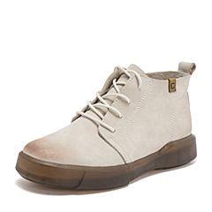 Teenmix/天美意2018冬米白色磨砂牛皮革舒适平跟休闲靴女短靴B8758DD8