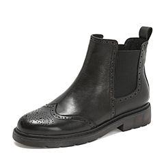 Teenmix/天美意2018冬黑色打蜡羊皮革方跟切尔西靴女短靴80011DD8