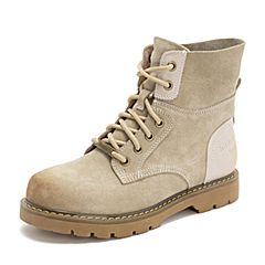 Teenmix/天美意2018冬商场同款米白色牛剖层皮革休闲风方跟马丁靴女短靴AT131DD8