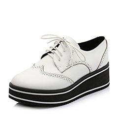 Teenmix/天美意2018秋白色牛皮革英伦风厚底松糕鞋女单鞋31202CM8