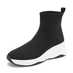 Teenmix/天美意冬商场同款黑色纺织品女休?#37266;T521DD8