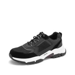 Teenmix/天美意2019春新款商场同款黑色纺织品/牛剖层革/人造革男鞋69D02AM9