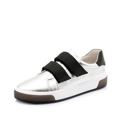 Teenmix/天美意2019春商场同款银色平跟山羊皮革女皮鞋CIT20AM9