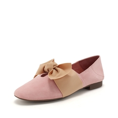 Teenmix/天美意2019春新款粉色羊绒皮革女休闲鞋19012AQ9