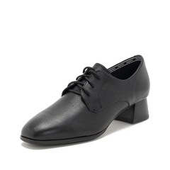 Teenmix/天美意2019春新款商场同款黑色方头牛皮革女皮鞋CG720AM9