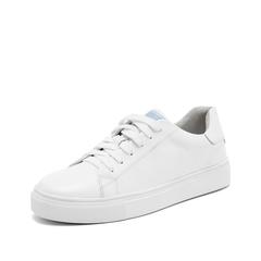 Teenmix/天美意2019春新款商场同款白色牛皮革女皮鞋系带小白鞋CH326AM9