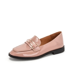Teenmix/天美意2019春新款商场同款粉色金属装?#32441;?#30382;牛皮革女皮鞋穆勒鞋单鞋CFN10AQ9