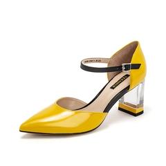 Teenmix/天美意2019?#30007;?#27454;商场同款黄色尖头透明粗跟牛皮革女皮凉鞋高跟鞋CIM38BK9