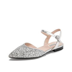 Teenmix/天美意2019?#30007;?#27454;商场同款银灰色尖头亮片布女凉鞋CB538BK9