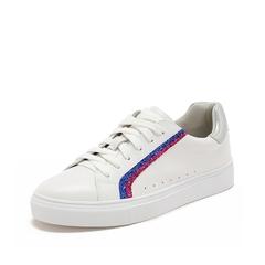 Teenmix/天美意2019春新款商场同款白/银色牛皮革女皮鞋板鞋CH325AM9