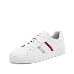 Teenmix/天美意2019春新款商场同款白/桃红/银灰色牛皮革女皮鞋CH322AM9