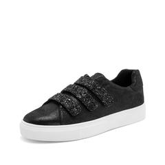 Teenmix/天美意2019春新款商场同款黑色魔术贴裂面羊绒皮革女皮鞋CH321AM9