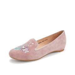 Teenmix/天美意2019春新款商场同款粉色珍珠亮片羊绒皮革女皮鞋单鞋6UK28AQ9