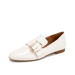 Teenmix/天美意2019春新款商场同款米白方跟可踩脚式绵羊皮革女皮鞋单鞋CH701AQ9