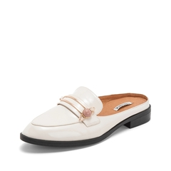 Teenmix/天美意2019?#30007;?#27454;商场同款米色漆皮牛皮革女皮凉鞋6T534BH9