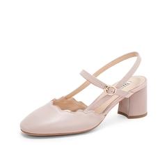 Teenmix/天美意2019夏新款商場同款粉色波浪花邊女后空涼鞋CHT30BH9
