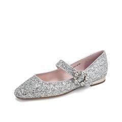 Teenmix/天美意2019春新款商场同款银灰色尖头闪钻亮片布女鞋单鞋CHP01AQ9