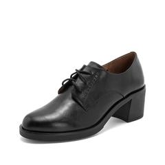 Teenmix/天美意2019春新品商场同款黑色牛皮革女皮鞋CFC22AM9