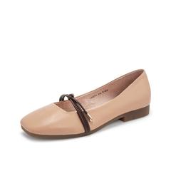 Teenmix/天美意2019春新款商场同款杏色方头绵羊皮革女皮鞋CH201AQ9