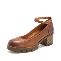 Teenmix/天美意2019春新品商场同款棕色擦色牛皮革女皮鞋CHQ01AQ9