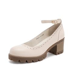 Teenmix/天美意2019春新品商场同款米白色牛皮革女皮鞋CHQ01AQ9