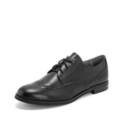 Teenmix/天美意2019春新款商场同款黑色打蜡布洛克牛皮革女皮鞋CBQ25AM9