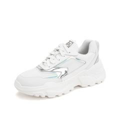 Teenmix/天美意2019春新款商场同款白色韩版运动老爹鞋牛皮革/布女休闲鞋CG323AM9