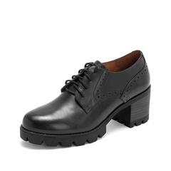 Teenmix/天美意2019春新品商场同款黑色牛皮革女皮鞋CHQ20AM9