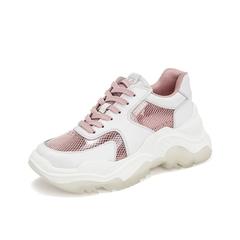 Teenmix/天美意2019春新款商场同款粉色牛皮革女休闲鞋老爹鞋CHN20AM9