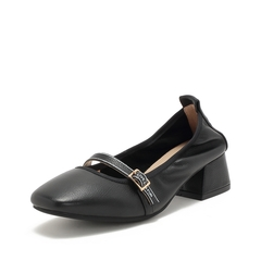 Teenmix/天美意2019春新款商场同款黑色优雅牛皮革女皮鞋CAD16AQ9