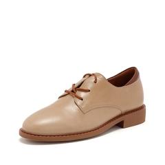 Teenmix/天美意2019春新款商场同款杏色牛皮革女皮鞋AT281AM9