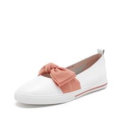 Teenmix/天美意2019春新款商场同款白色蝴蝶结牛皮革/纺织品女休闲鞋AT241AQ9