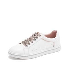 Teenmix/天美意2019春新款商场同款白/肤色牛皮革女休闲鞋AT321AM9