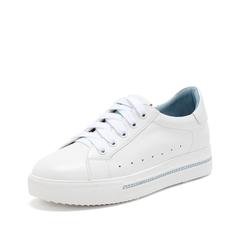 Teenmix/天美意2019春新款商场同款白/浅兰色牛皮革女休闲鞋板鞋AT301AM9