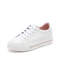 Teenmix/天美意2019春新款商场同款白/粉色牛皮革女休闲鞋板鞋AT301AM9