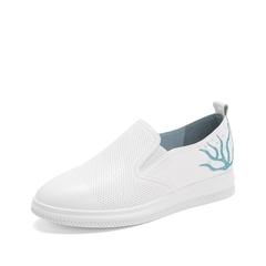 Teenmix/天美意2019春新款商场同款白/兰色牛皮革女休闲鞋懒人鞋AT221AM9
