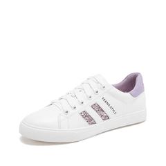 Teenmix/天美意2019春新款商场同款牛皮革女休闲鞋板鞋AT271AM9