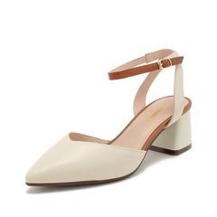 Teenmix/天美意2019春新款商場同款米色/棕色韓版氣質尖頭牛皮革女皮涼鞋AT371AH9
