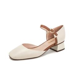 Teenmix/天美意2019春新款商场同款米色金属饰扣方头中跟简约女皮凉鞋AT381AK9