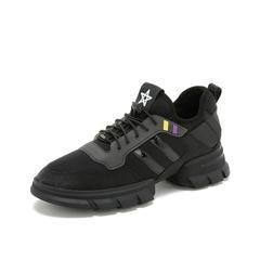 Teenmix/天美意2019春新品黑色纺织品/胶片女旅游鞋休闲运动鞋TR269AM9