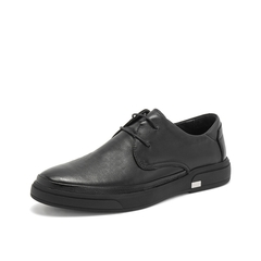 Teenmix/天美意2019春新款商场同款黑色牛皮革男商务上班休闲鞋2MI01AM9