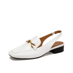 Teenmix/天美意2019春新款白色马衔扣低跟方头牛皮革女皮凉鞋18010AH9