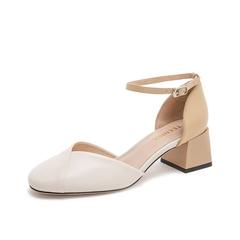 Teenmix/天美意2019春新款米白杏色羊皮革一字式扣带女皮凉鞋C1903AK9