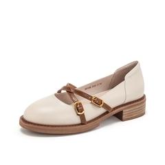 Teenmix/天美意2019春新品米白色牛皮革女皮鞋复古浅口鞋50108AQ9