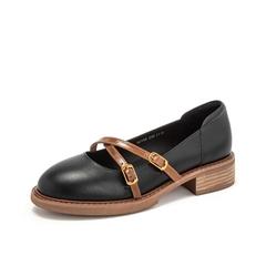 Teenmix/天美意2019春新品黑色牛皮革女皮鞋复古浅口鞋50108AQ9