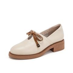 Teenmix/天美意2019春新品米白色牛皮革女皮鞋81201AM9