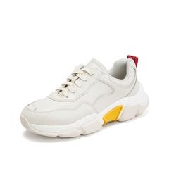 Teenmix/天美意2019春新款商场同款米白色老爹鞋休闲牛皮革女皮鞋CJS20AM9