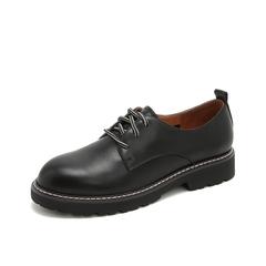 Teenmix/天美意2019春新款商场同款黑色英伦圆头牛皮革女皮鞋AT591AM9